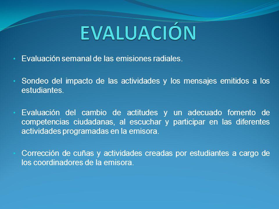 Evaluación semanal de las emisiones radiales. Sondeo del impacto de las actividades y los mensajes emitidos a los estudiantes. Evaluación del cambio d