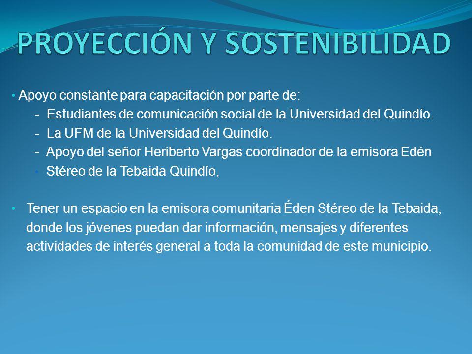 Apoyo constante para capacitación por parte de: - Estudiantes de comunicación social de la Universidad del Quindío. - La UFM de la Universidad del Qui