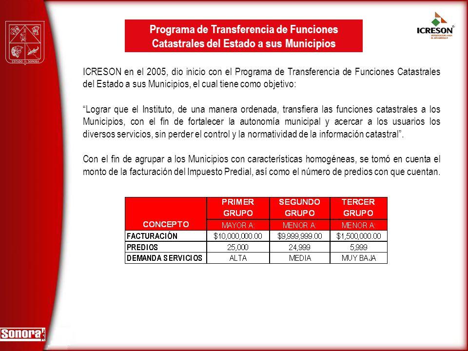 ICRESON en el 2005, dio inicio con el Programa de Transferencia de Funciones Catastrales del Estado a sus Municipios, el cual tiene como objetivo: Log