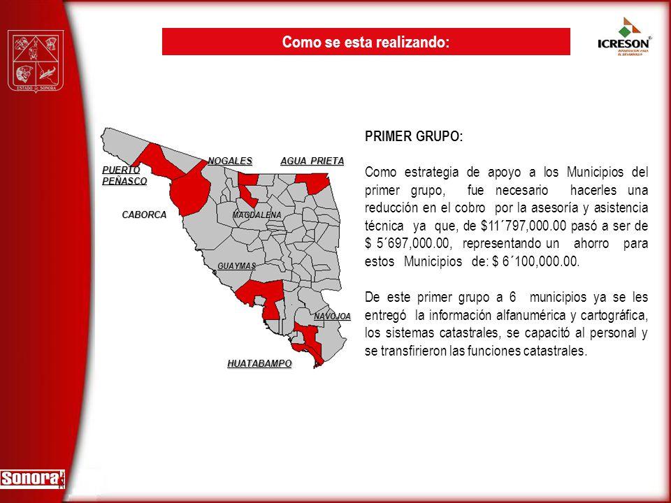 PRIMER GRUPO: Como estrategia de apoyo a los Municipios del primer grupo, fue necesario hacerles una reducción en el cobro por la asesoría y asistenci