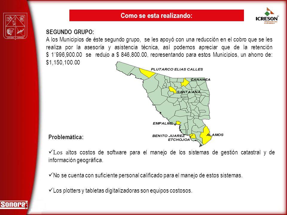 SEGUNDO GRUPO: A los Municipios de éste segundo grupo, se les apoyó con una reducción en el cobro que se les realiza por la asesoría y asistencia técn