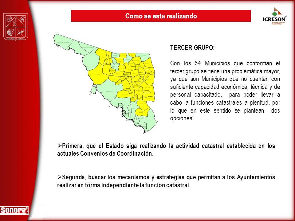 TERCER GRUPO: Con los 54 Municipios que conforman el tercer grupo se tiene una problemática mayor, ya que son Municipios que no cuentan con suficiente