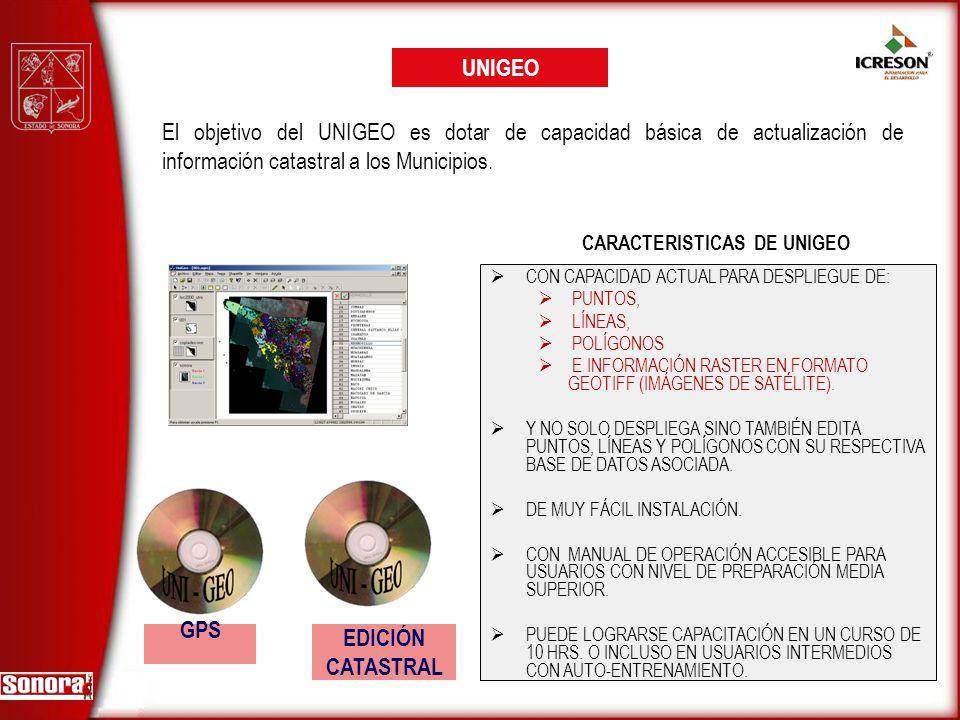CARACTERISTICAS DE UNIGEO GPS UNIGEO CON CAPACIDAD ACTUAL PARA DESPLIEGUE DE: PUNTOS, LÍNEAS, POLÍGONOS E INFORMACIÓN RASTER EN FORMATO GEOTIFF (IMÁGE