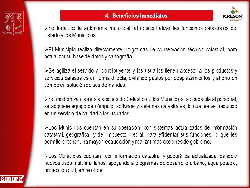 Se fortalece la autonomía municipal, al descentralizar las funciones catastrales del Estado a los Municipios. El Municipio realiza directamente progra