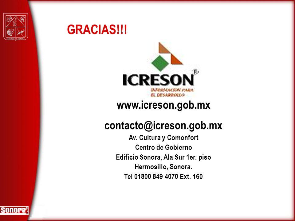 www.icreson.gob.mx contacto@icreson.gob.mx Av. Cultura y Comonfort Centro de Gobierno Edificio Sonora, Ala Sur 1er. piso Hermosillo, Sonora. Tel 01800