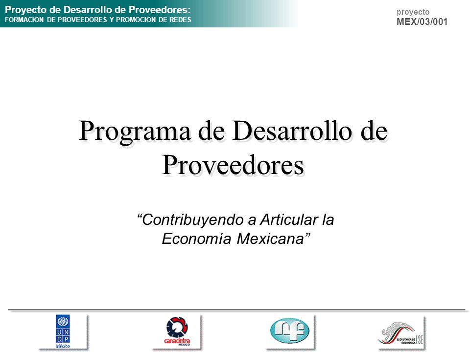 Proyecto de Desarrollo de Proveedores: FORMACION DE PROVEEDORES Y PROMOCION DE REDES proyecto MEX/03/001 Programa de Desarrollo de Proveedores Contribuyendo a Articular la Economía Mexicana