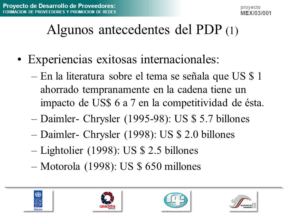 Proyecto de Desarrollo de Proveedores: FORMACION DE PROVEEDORES Y PROMOCION DE REDES proyecto MEX/03/001 Algunos antecedentes del PDP (1) Experiencias