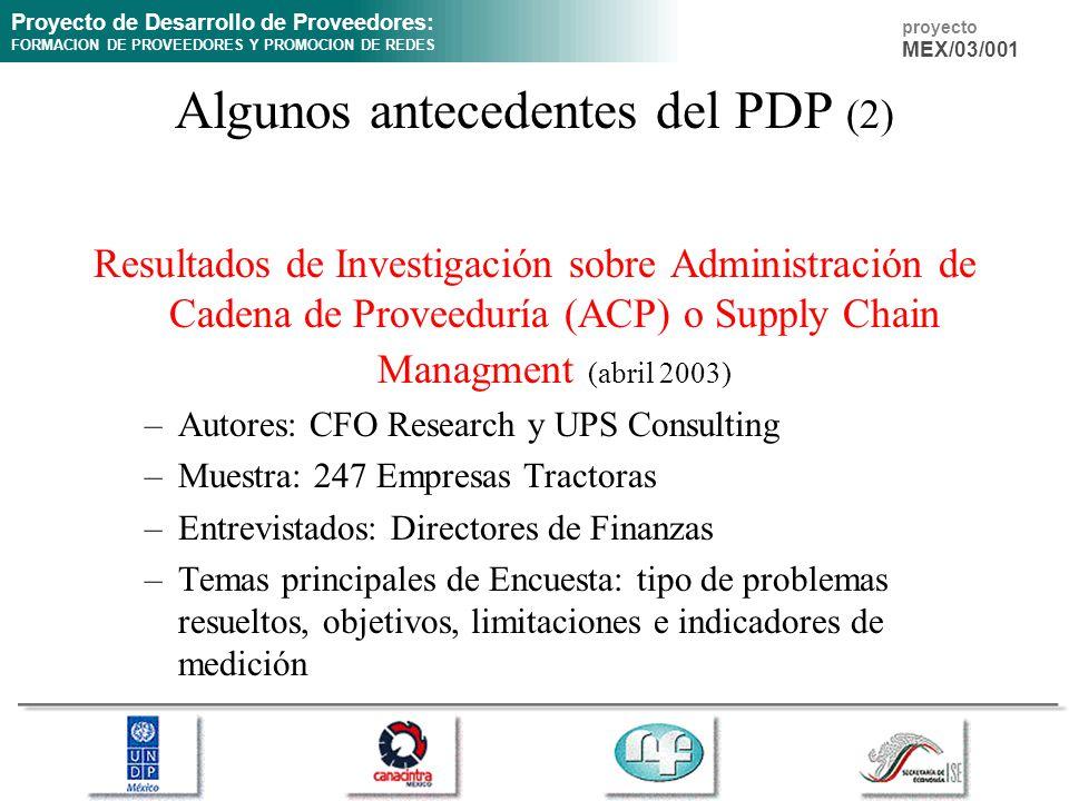 Proyecto de Desarrollo de Proveedores: FORMACION DE PROVEEDORES Y PROMOCION DE REDES proyecto MEX/03/001 Algunos antecedentes del PDP (2) Resultados de Investigación sobre Administración de Cadena de Proveeduría (ACP) o Supply Chain Managment (abril 2003) –Autores: CFO Research y UPS Consulting –Muestra: 247 Empresas Tractoras –Entrevistados: Directores de Finanzas –Temas principales de Encuesta: tipo de problemas resueltos, objetivos, limitaciones e indicadores de medición