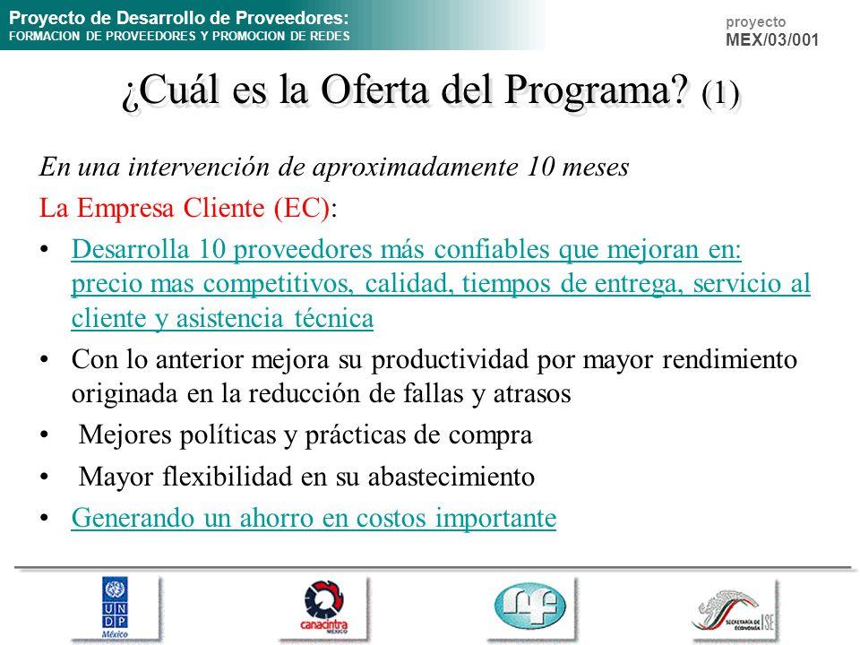 Proyecto de Desarrollo de Proveedores: FORMACION DE PROVEEDORES Y PROMOCION DE REDES proyecto MEX/03/001 ¿Cuál es la Oferta del Programa? (1) En una i