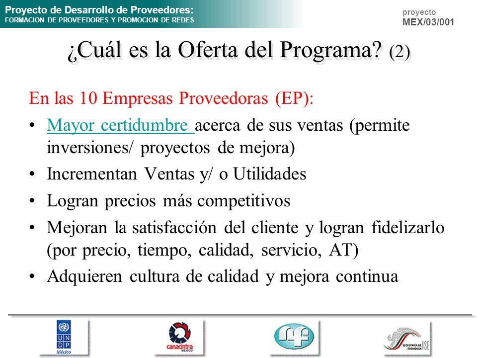 Proyecto de Desarrollo de Proveedores: FORMACION DE PROVEEDORES Y PROMOCION DE REDES proyecto MEX/03/001 ¿Cuál es la Oferta del Programa? (2) En las 1