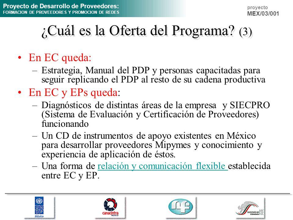 Proyecto de Desarrollo de Proveedores: FORMACION DE PROVEEDORES Y PROMOCION DE REDES proyecto MEX/03/001 En EC queda: –Estrategia, Manual del PDP y pe