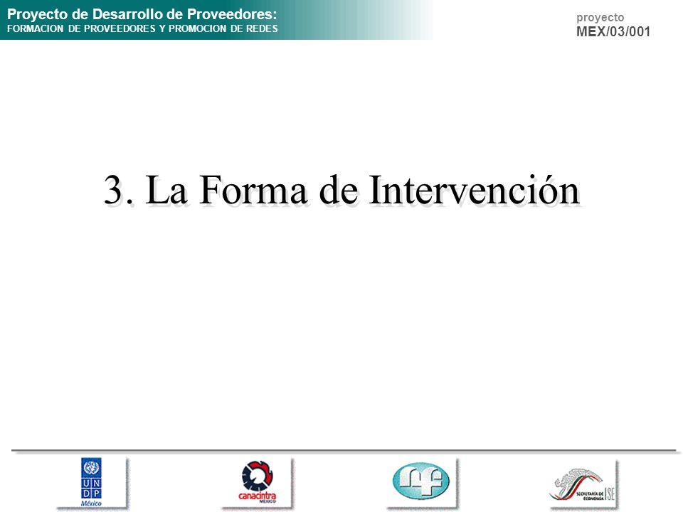 Proyecto de Desarrollo de Proveedores: FORMACION DE PROVEEDORES Y PROMOCION DE REDES proyecto MEX/03/001 3. La Forma de Intervención