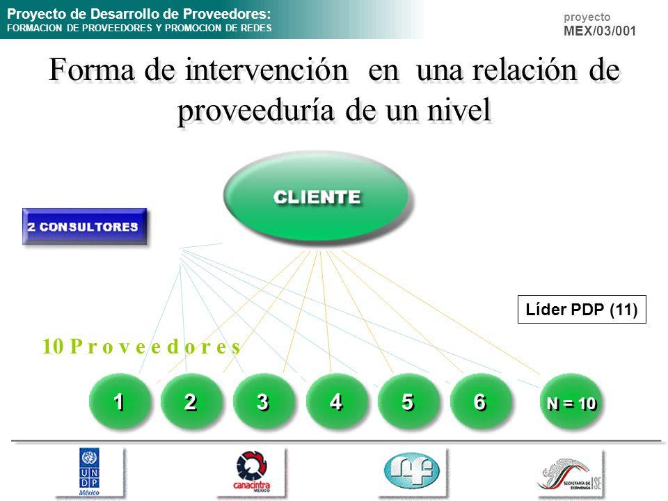 Proyecto de Desarrollo de Proveedores: FORMACION DE PROVEEDORES Y PROMOCION DE REDES proyecto MEX/03/001 Forma de intervención en una relación de prov