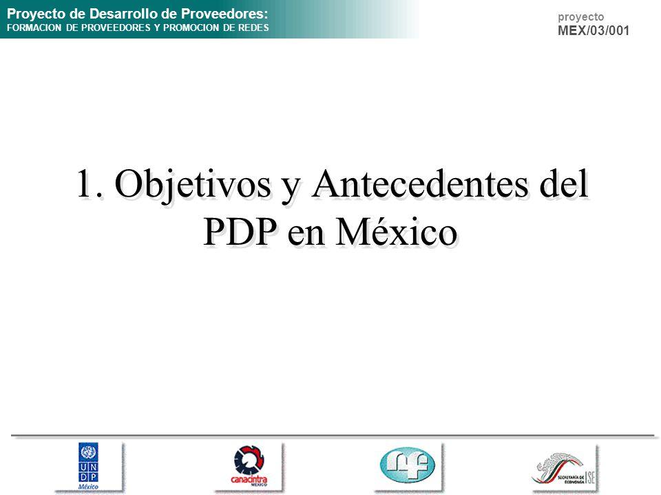 Proyecto de Desarrollo de Proveedores: FORMACION DE PROVEEDORES Y PROMOCION DE REDES proyecto MEX/03/001 1. Objetivos y Antecedentes del PDP en México
