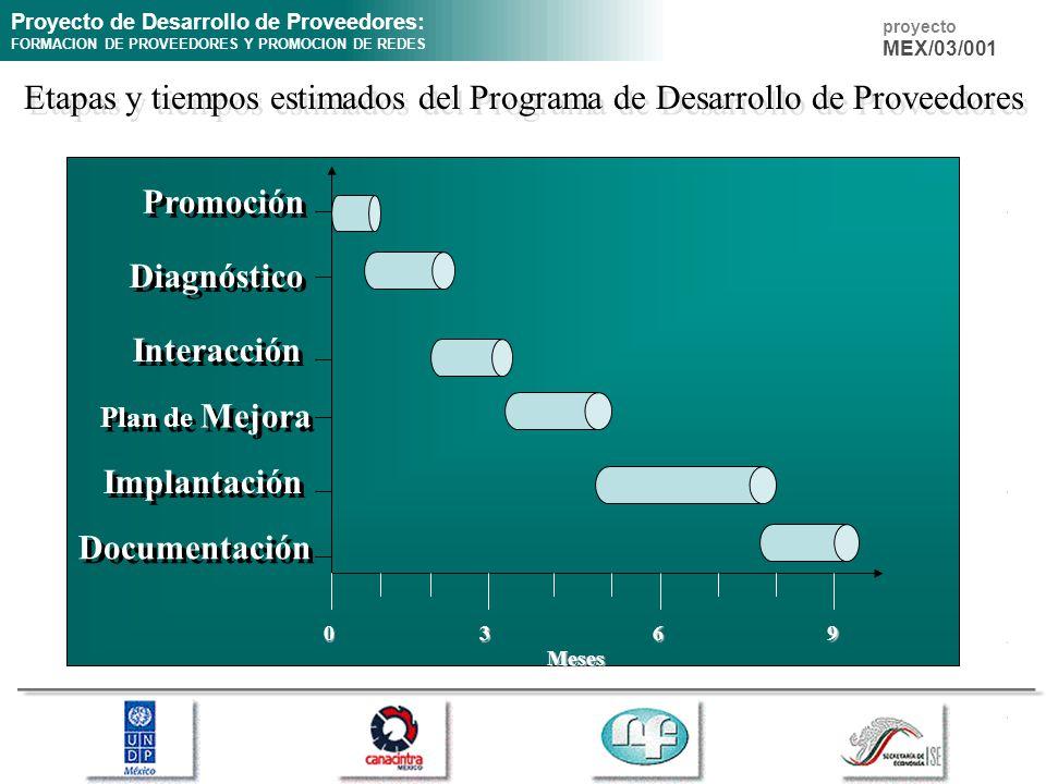 Proyecto de Desarrollo de Proveedores: FORMACION DE PROVEEDORES Y PROMOCION DE REDES proyecto MEX/03/001 Etapas y tiempos estimados del Programa de De