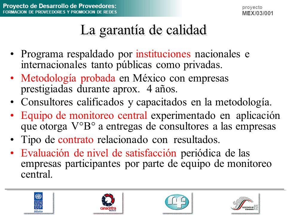 Proyecto de Desarrollo de Proveedores: FORMACION DE PROVEEDORES Y PROMOCION DE REDES proyecto MEX/03/001 La garantía de calidad Programa respaldado po