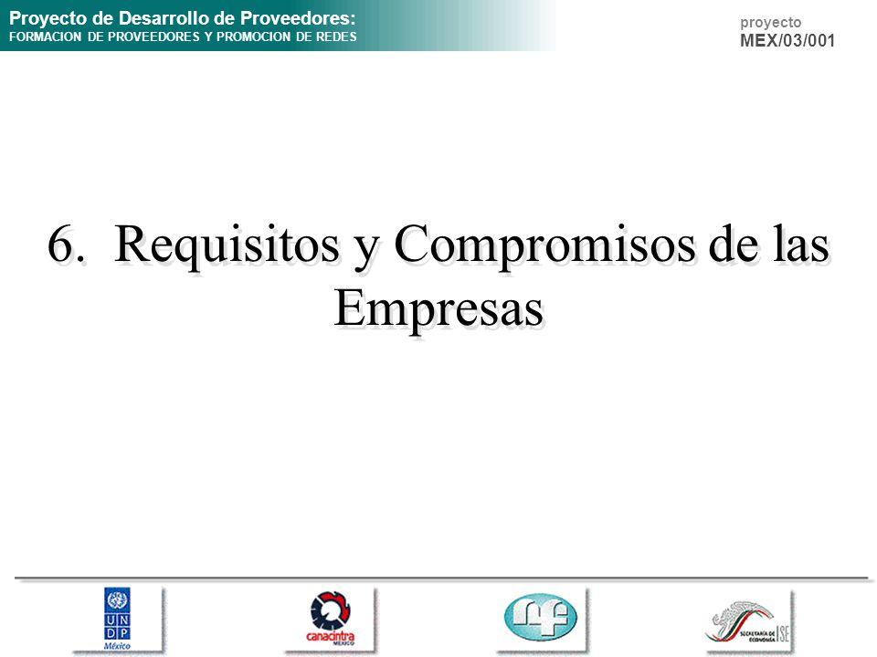 Proyecto de Desarrollo de Proveedores: FORMACION DE PROVEEDORES Y PROMOCION DE REDES proyecto MEX/03/001 6. Requisitos y Compromisos de las Empresas