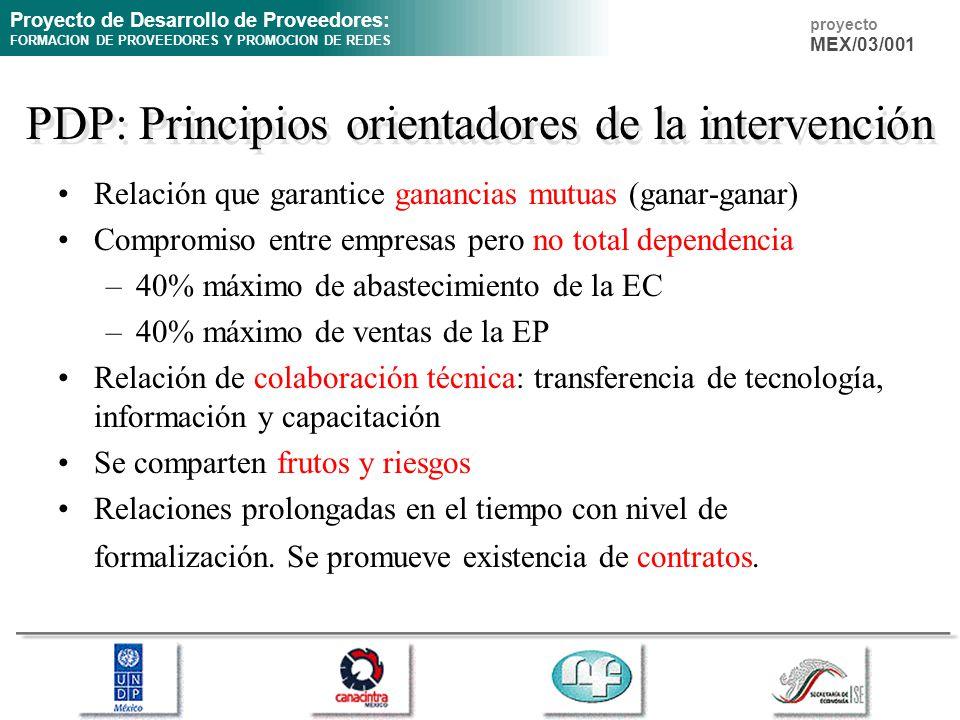 Proyecto de Desarrollo de Proveedores: FORMACION DE PROVEEDORES Y PROMOCION DE REDES proyecto MEX/03/001 PDP: Principios orientadores de la intervenci