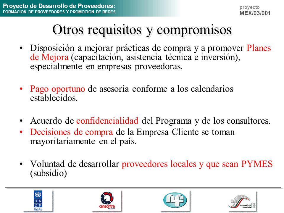 Proyecto de Desarrollo de Proveedores: FORMACION DE PROVEEDORES Y PROMOCION DE REDES proyecto MEX/03/001 Otros requisitos y compromisos Disposición a