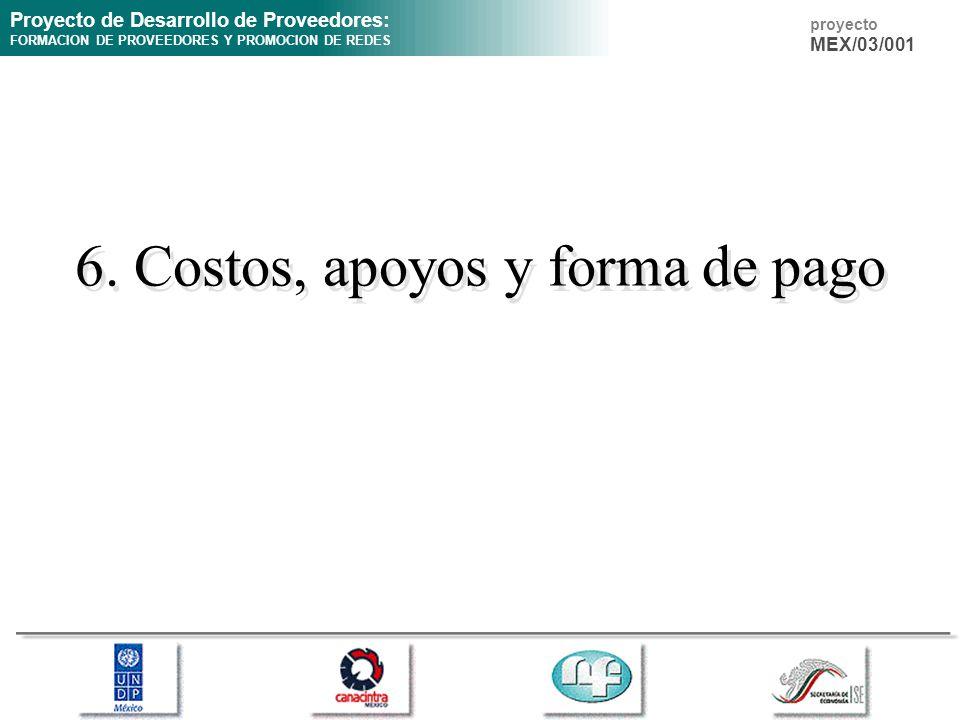 Proyecto de Desarrollo de Proveedores: FORMACION DE PROVEEDORES Y PROMOCION DE REDES proyecto MEX/03/001 6. Costos, apoyos y forma de pago