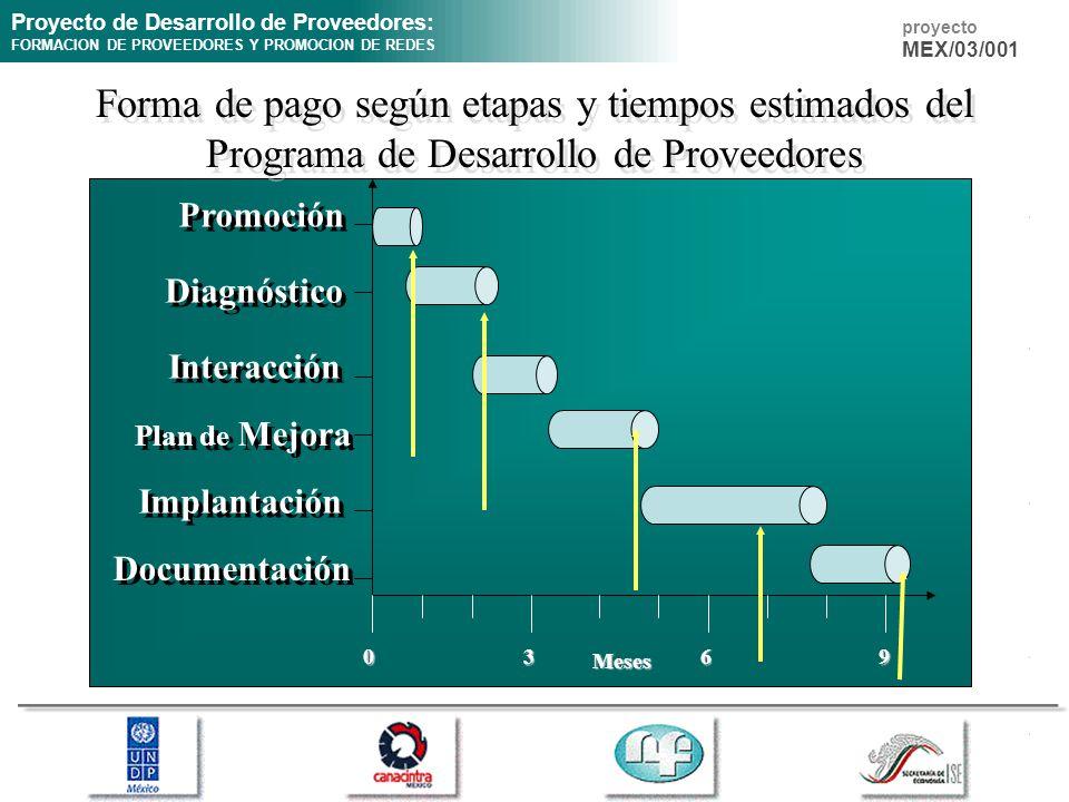 Proyecto de Desarrollo de Proveedores: FORMACION DE PROVEEDORES Y PROMOCION DE REDES proyecto MEX/03/001 Forma de pago según etapas y tiempos estimado