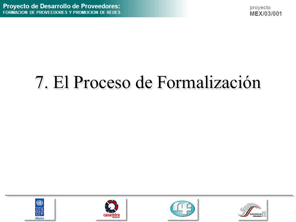 Proyecto de Desarrollo de Proveedores: FORMACION DE PROVEEDORES Y PROMOCION DE REDES proyecto MEX/03/001 7. El Proceso de Formalización