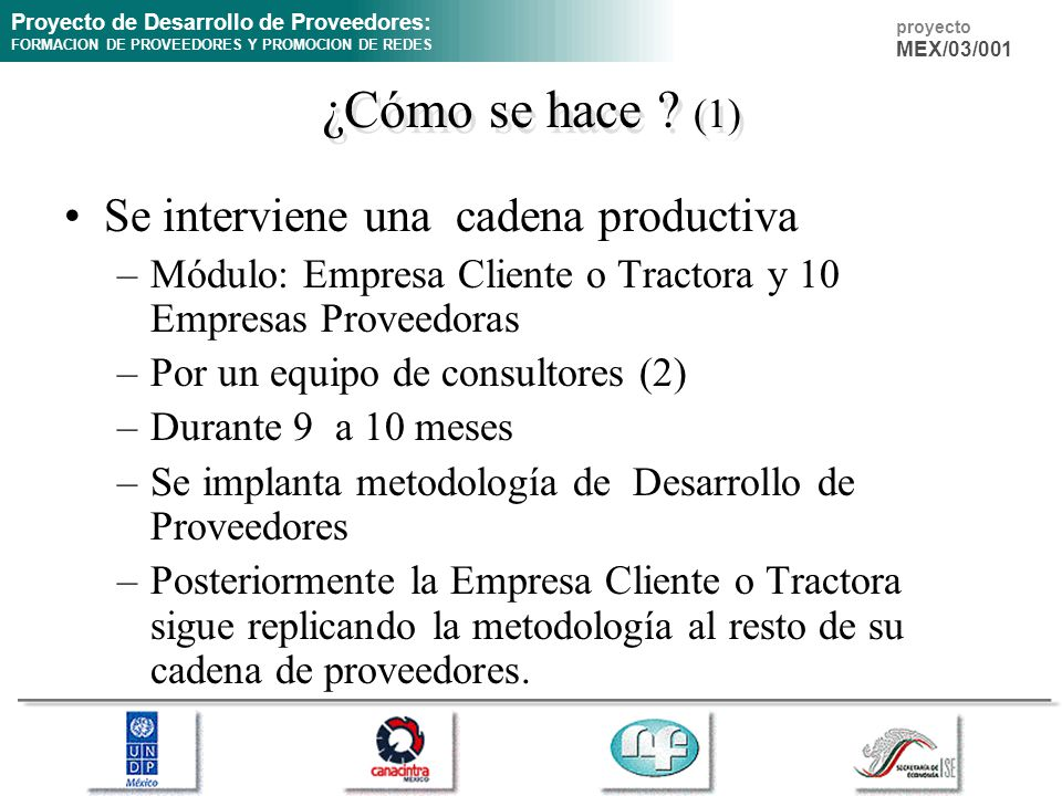 Proyecto de Desarrollo de Proveedores: FORMACION DE PROVEEDORES Y PROMOCION DE REDES proyecto MEX/03/001 ¿Cómo se hace ? (1) Se interviene una cadena
