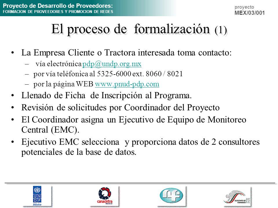 Proyecto de Desarrollo de Proveedores: FORMACION DE PROVEEDORES Y PROMOCION DE REDES proyecto MEX/03/001 El proceso de formalización (1) La Empresa Cl