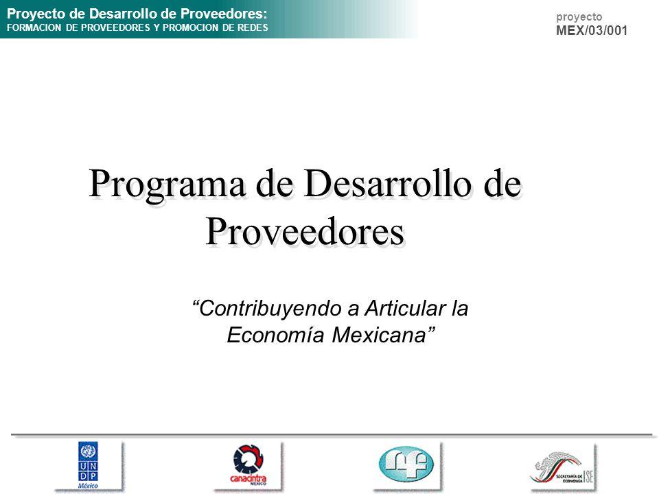 Proyecto de Desarrollo de Proveedores: FORMACION DE PROVEEDORES Y PROMOCION DE REDES proyecto MEX/03/001 Programa de Desarrollo de Proveedores Contrib