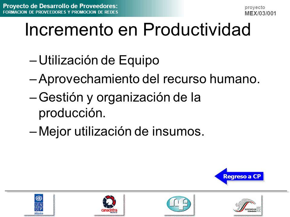 Proyecto de Desarrollo de Proveedores: FORMACION DE PROVEEDORES Y PROMOCION DE REDES proyecto MEX/03/001 Incremento en Productividad –Utilización de Equipo –Aprovechamiento del recurso humano.