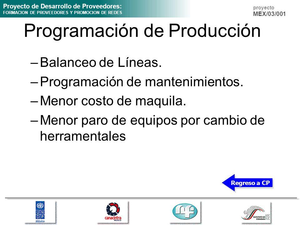 Proyecto de Desarrollo de Proveedores: FORMACION DE PROVEEDORES Y PROMOCION DE REDES proyecto MEX/03/001 Programación de Producción –Balanceo de Línea