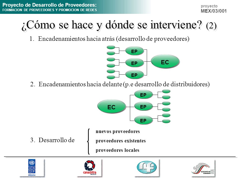 Proyecto de Desarrollo de Proveedores: FORMACION DE PROVEEDORES Y PROMOCION DE REDES proyecto MEX/03/001 ¿Cómo se hace y dónde se interviene? (2) 1.En