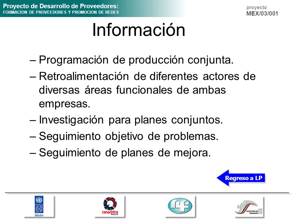 Proyecto de Desarrollo de Proveedores: FORMACION DE PROVEEDORES Y PROMOCION DE REDES proyecto MEX/03/001 Información –Programación de producción conju