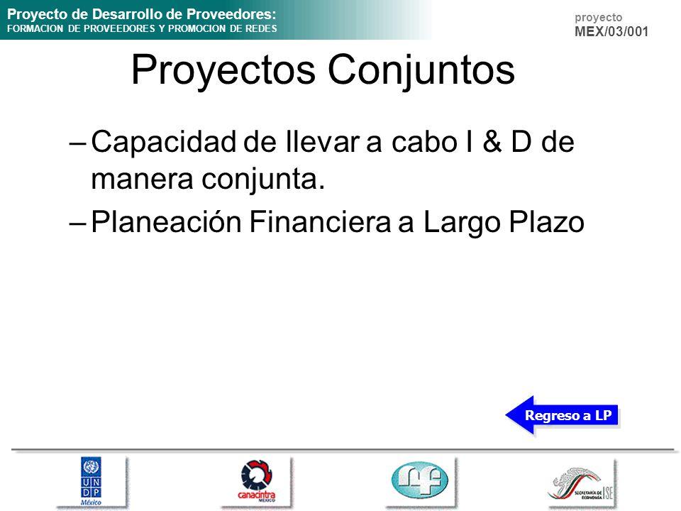 Proyecto de Desarrollo de Proveedores: FORMACION DE PROVEEDORES Y PROMOCION DE REDES proyecto MEX/03/001 Proyectos Conjuntos –Capacidad de llevar a ca