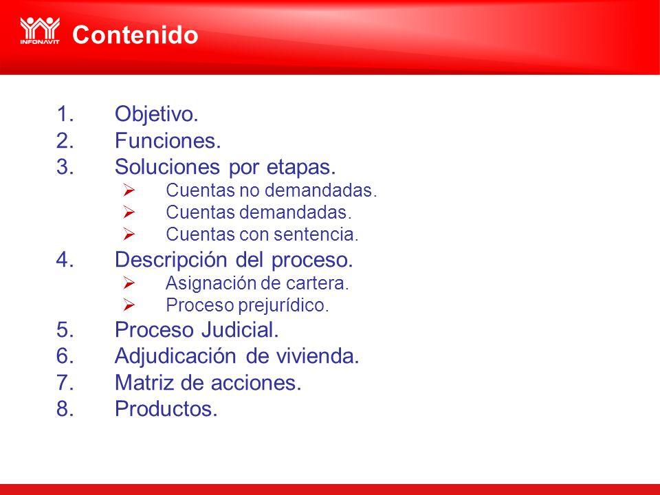 Contenido 1.Objetivo. 2.Funciones. 3.Soluciones por etapas. Cuentas no demandadas. Cuentas demandadas. Cuentas con sentencia. 4.Descripción del proces