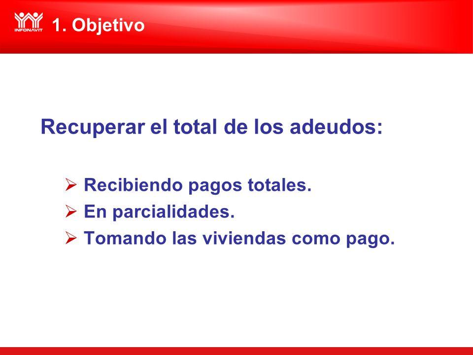 Recuperar el total de los adeudos: Recibiendo pagos totales. En parcialidades. Tomando las viviendas como pago. 1. Objetivo