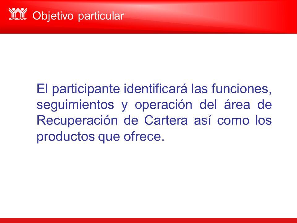 El participante identificará las funciones, seguimientos y operación del área de Recuperación de Cartera así como los productos que ofrece. Objetivo p