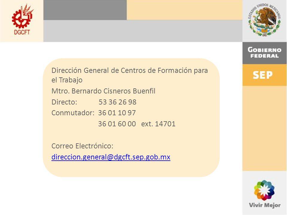 Dirección General de Centros de Formación para el Trabajo Mtro.