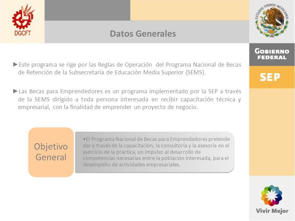Datos Generales Este programa se rige por las Reglas de Operación del Programa Nacional de Becas de Retención de la Subsecretaría de Educación Media Superior (SEMS).