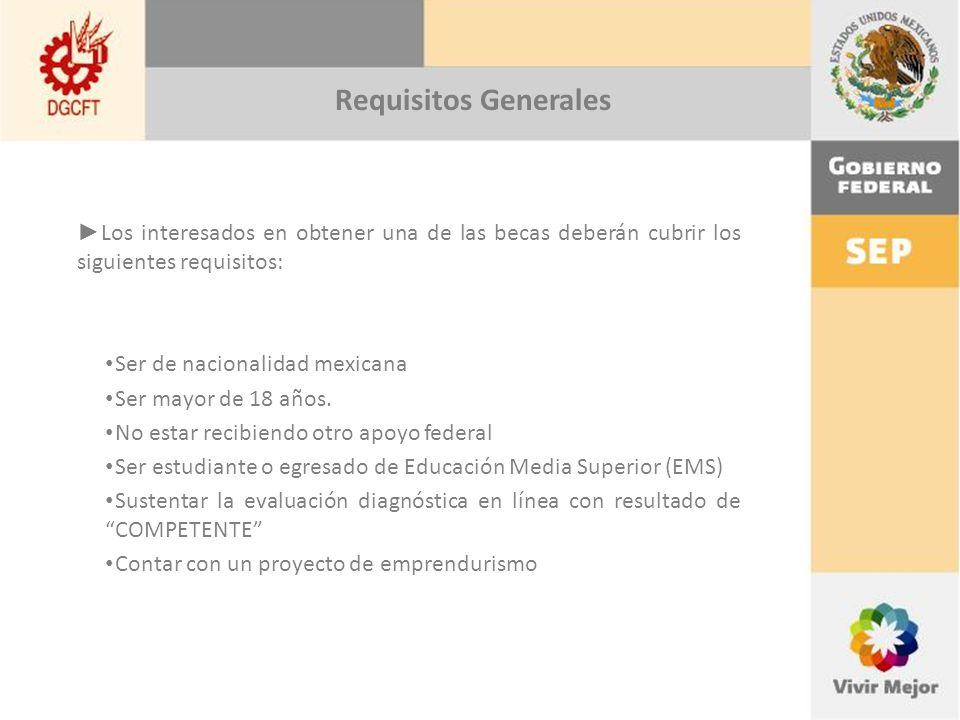 Los interesados en obtener una de las becas deberán cubrir los siguientes requisitos: Ser de nacionalidad mexicana Ser mayor de 18 años.