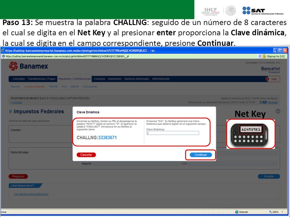 Paso 13: Se muestra la palabra CHALLNG: seguido de un número de 8 caracteres el cual se digita en el Net Key y al presionar enter proporciona la Clave