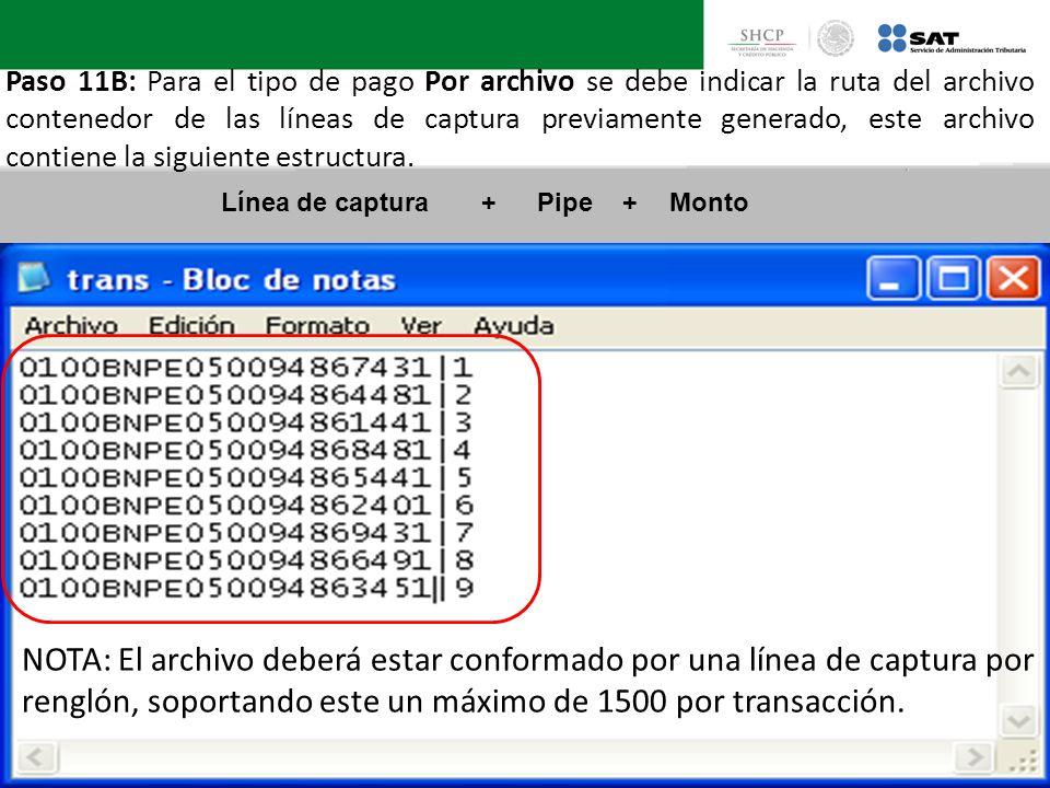 Paso 11B: Para el tipo de pago Por archivo se debe indicar la ruta del archivo contenedor de las líneas de captura previamente generado, este archivo