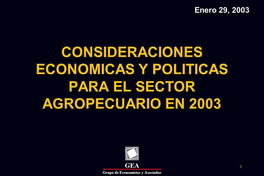 GEAGEA Grupo de Economistas y Asociados 32 III.PERSPECTIVAS ECONOMICAS Y POLITICAS PARA 2003 Tendencias: evolución en 2002 En 2000-2002 el PIB agropecuario registró un comportamiento contracíclico, pero favorable.