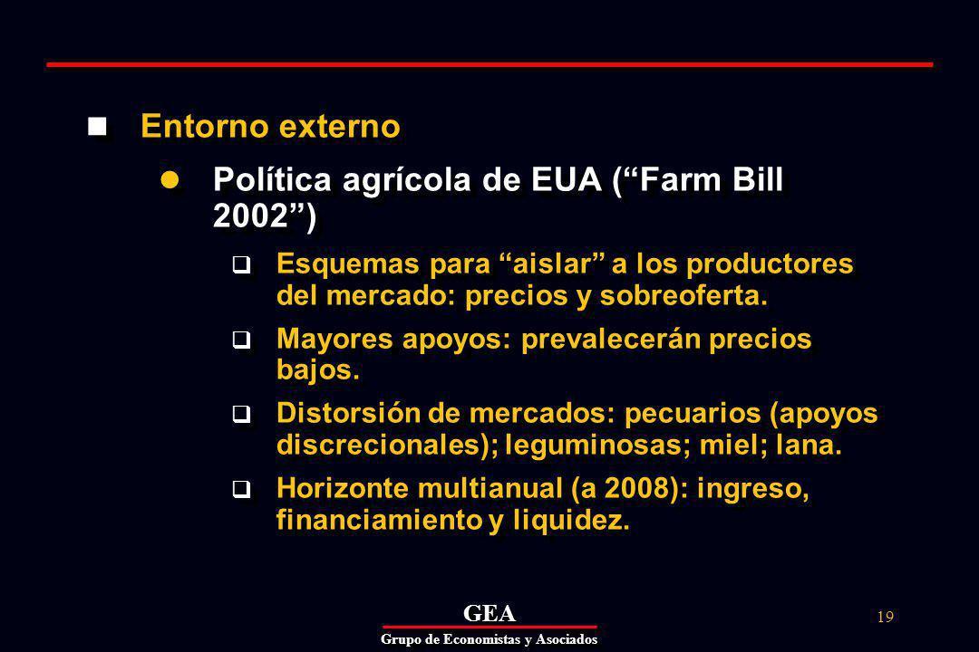 GEAGEA Grupo de Economistas y Asociados 19 Entorno externo Política agrícola de EUA (Farm Bill 2002) Esquemas para aislar a los productores del mercado: precios y sobreoferta.