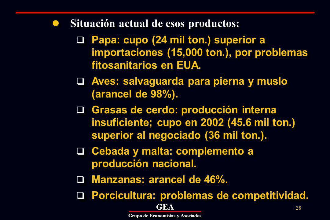 GEAGEA Grupo de Economistas y Asociados 28 Situación actual de esos productos: Papa: cupo (24 mil ton.) superior a importaciones (15,000 ton.), por problemas fitosanitarios en EUA.