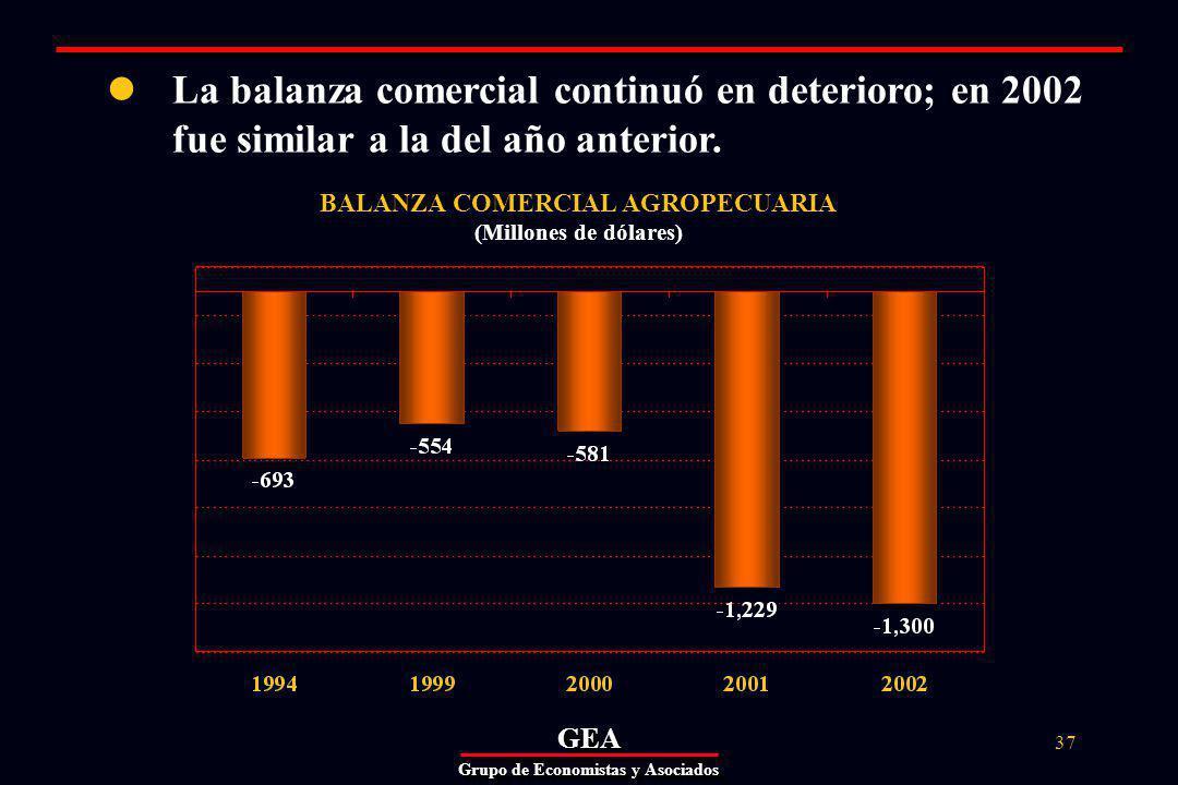 GEAGEA Grupo de Economistas y Asociados 37 BALANZA COMERCIAL AGROPECUARIA (Millones de dólares) La balanza comercial continuó en deterioro; en 2002 fue similar a la del año anterior.