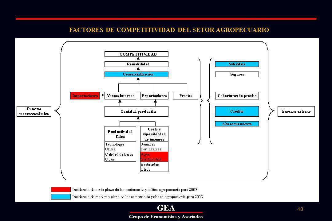GEAGEA Grupo de Economistas y Asociados 40 FACTORES DE COMPETITIVIDAD DEL SETOR AGROPECUARIO