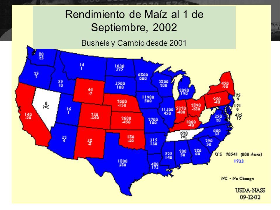 Rendimiento de Maíz al 1 de Septiembre, 2002 Bushels y Cambio desde 2001