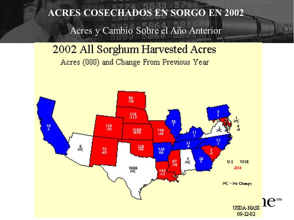 ACRES COSECHADOS EN SORGO EN 2002 Acres y Cambio Sobre el Año Anterior