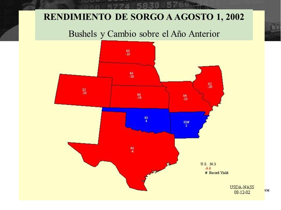 RENDIMIENTO DE SORGO A AGOSTO 1, 2002 Bushels y Cambio sobre el Año Anterior